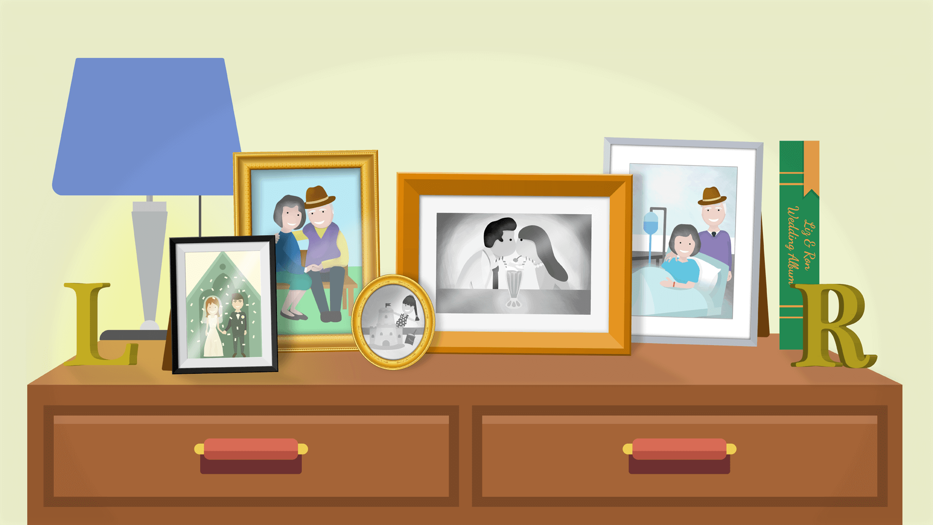 A couple's sideboard with family photos of memories