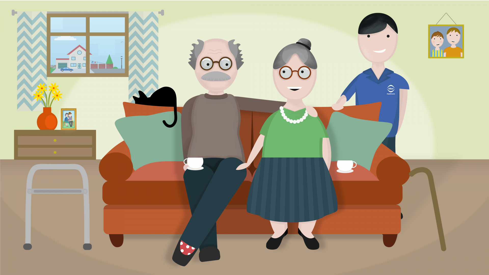 Ernie and Dorothy receiving home care from an Allied Healthcare carer