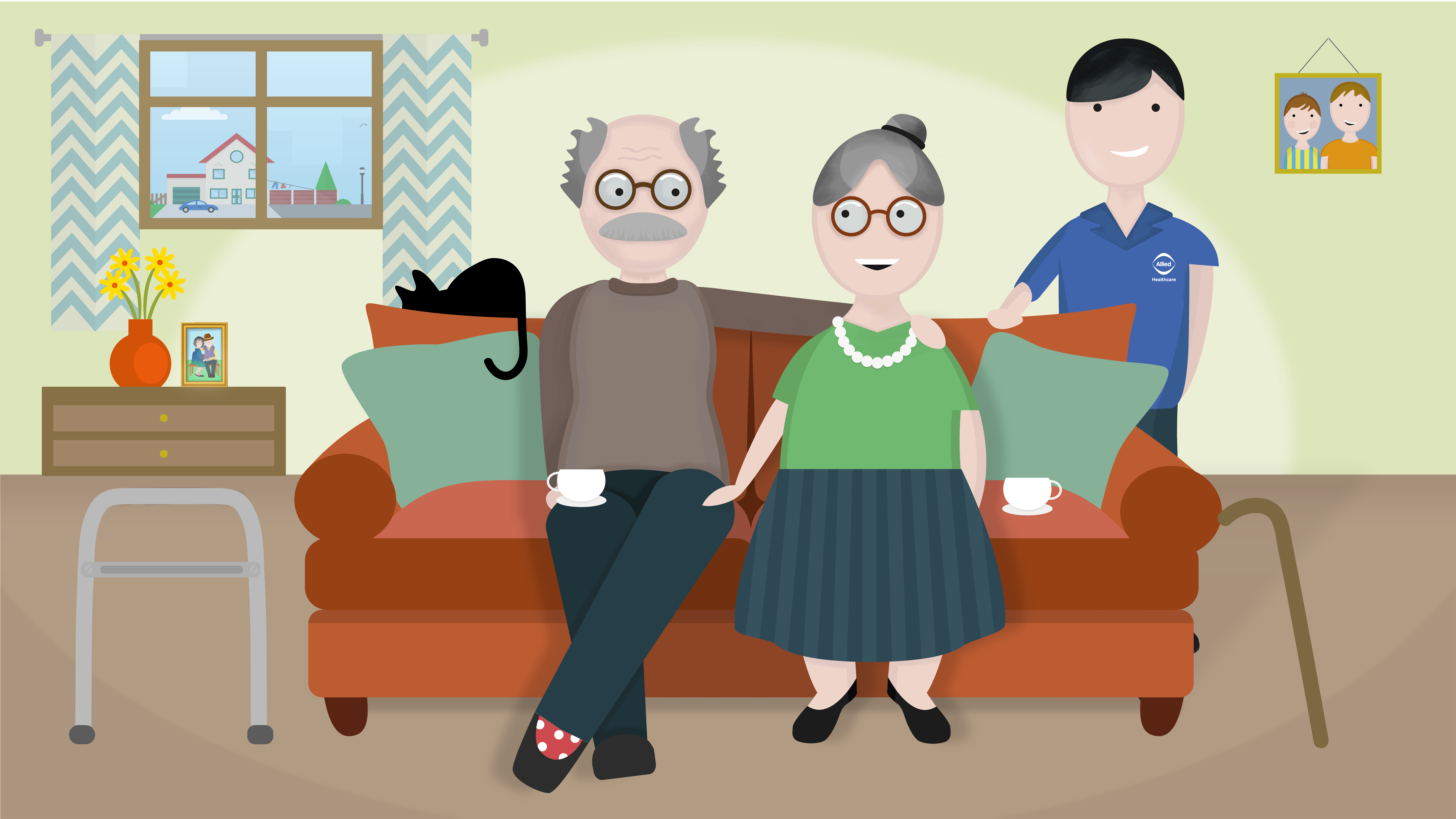 A couple receiving home care with Allied Healthcare